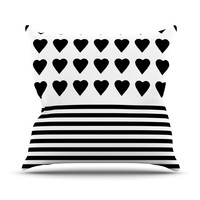 "Project M ""Heart Stripes Black and White"" Monochrome Lines Outdoor Throw Pillow"