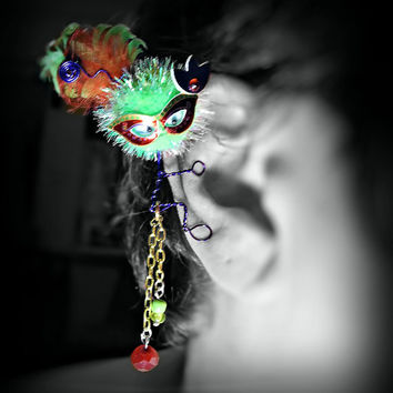 Masked Monster Ear Cuff - Mardi Gras, Wire Wrap, Critter, Pom Pom, Creature, Feathers, Neon, Bead Dangles - Unique Jewelry for a Unique You
