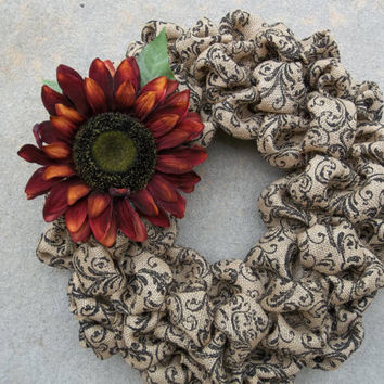 "New 18"" Natural and Black Scroll Print Burlap Sunflower  Burlap Wreath, fall wreath , door decoration, housewarming gift"