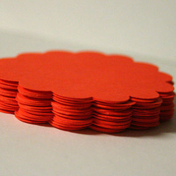 50 Bright Orange Cardstock Scallop Circles