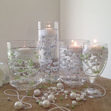 Floating Beaded Pearl Centerpieces, Vase Fillers, Table Top Decor Embellishment
