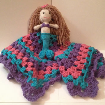 Handmade Crocheted Lovey with Mermaid - Any color & 3 sizes Available