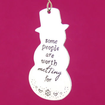 Frozen Ornament - Worth Melting For - Stamped Metal Disney Ornament