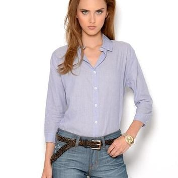 Piko 1988 Pinstriped Button Up Cotton Blouse - The Blouse Shop - Modnique.com