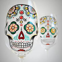Sugar Skull - Hand Painted Wine Glasses - Día de Muertos - Day of the Dead Glasses