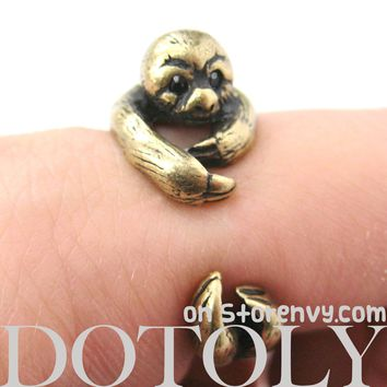 Sloth Animal Wrap Around Hug Ring in Brass - Sizes 4 to 9 Available