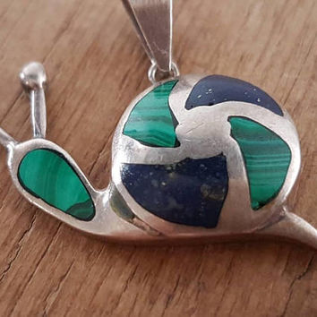 Vintage 950 Silver Snail Pendant With Malachite And Lapis Lazuli Inlay , Gifts For Her