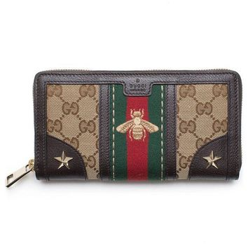 PEAPIX5 Gucci Bee Web Wallet Signature Star Box Leather Authentic New