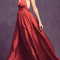 Halter Neck Backless Satin Maxi Dress
