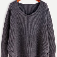 Grey Ribbed Knit Slit High Low Sweater