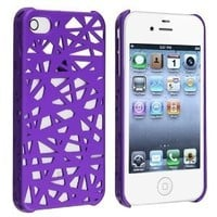 eFuture Purple Bird's Nest sleek hard back cover case fit for iphone4 4G 4S +eFuture's nice Keyring