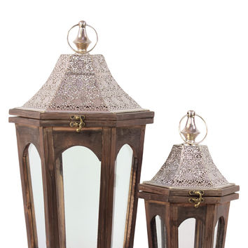 Classic Lamp Post Design Wooden Lantern Set Of Two In Antique Brown Finish