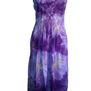 Single-Color Sarong Tie-Dye Sun Dress