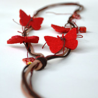 Leather Felt Necklace  Red Felt Buterflies Brown by JewelMeShop