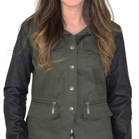 Dollhouse Women's Twill Vegan Moto Jacket