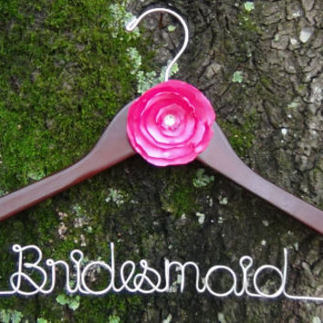 Personalized Bridal Keepsake Hanger with Flower, Custom Made Wedding Hangers with Names, Shower Gift idea,Wedding Photo Props