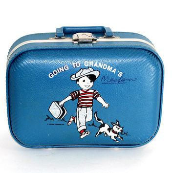 Child's Small Suitcase | Going To Grandma's Suitcase | Child Size Luggage Blue with Picture on Front | Child Overnight Bag | Boy's Luggage