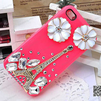 3D iPhone Case with Crystal Studded Eiffel tower & Pearl Flowers - for iPhone 4 and 4S