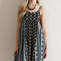 Floral Baby Doll Dress - Black Combo
