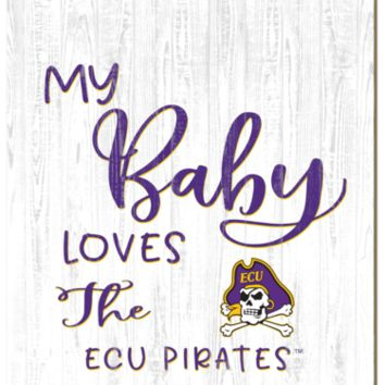 East Carolina Pirates | My Baby Loves | Sign | Wood | Rope Hanger | NCAA