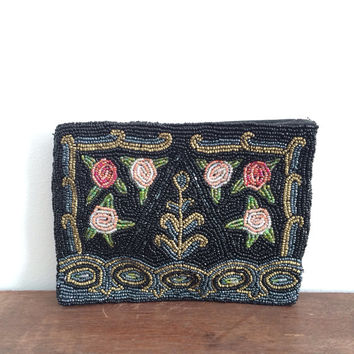 Great Gatsby Beaded Bag // 40s Silk Beaded Clutch