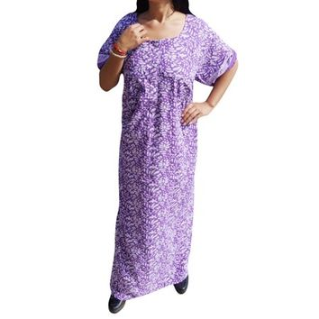 Mogul Womens Cotton Purple Caftan Dress Nightwear Summer Comfy Printed Short Sleeves Sleepwear Maxi Kaftan - Walmart.com