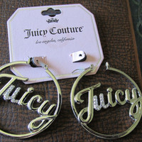 """New Old Stock JUICY COUTURE 2"""" Round Hoop EARRINGS Gold Plated Crystal Accent Signed Ladies Collectible All Occasion Free Natural Styling"""