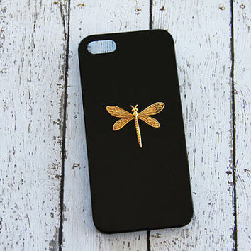 iPhone 5 Case with Dragonfly Gold and Black iPhone 5s Insect iPhone 6 Plus Cases Galaxy S3 Case Black Black S4 Case iPhone 5c Dragonfly