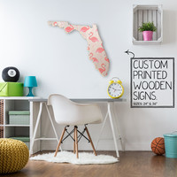 Florida State Flamingo Print Custom Wood Sign Unique Trendy Dorm Room