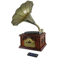 PYLE PRO PTCDCS32BT Retro-Style Bluetooth(R) Turntable Phonograph with Acoustic Horn, Vinyl to MP3 Recording & Cassette Deck