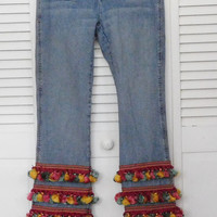 Tassel Fringe Bell Bottoms Stage Clothes Woodstock Festival Band Clothing Janis Denim Jeans Mariachi Moda Coachella Style Fashion Layered