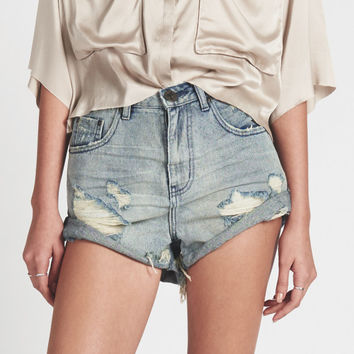 BLUE STORM BANDITS HIGH WAIST DENIM SHORT