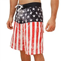 Distressed American Flag Men's Board Shorts