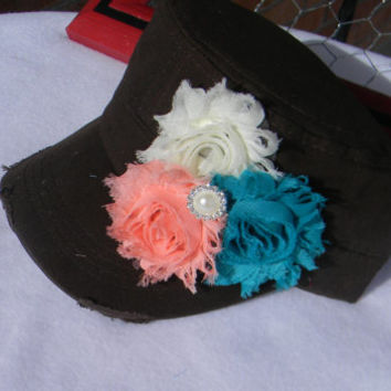 Womens Hat Shabby Chic Flower Hat distressed hat Bling cap Cadet Cap teal, peach and Ivory flower baseball cap military