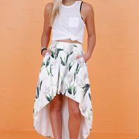 High to Low Tulip Skirt - White Print