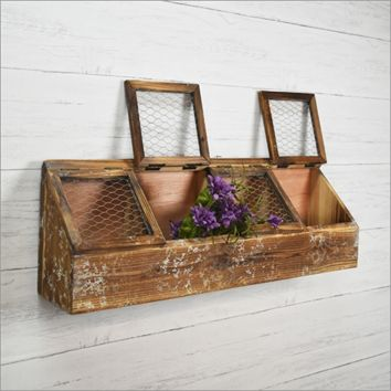Wooden Four Sectioned Wall Nautical Curio Bin