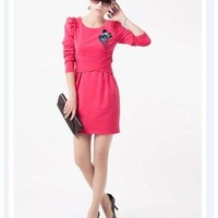 Polyester Commuter Puff Long Sleeve Round Neck Fold Corsage Winter Dress  style 1627740