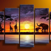 Hand painted Sun purple grassland elephant deer landscape home Decor Oil Painting on canvas 5pcs/set artwork painted with frame