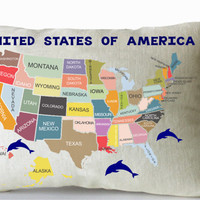 Kids Pillow Cover -Map Of America -Kids Room Decor -US Map Cushion Cover -Making Learning Fun For Kids -Customized -Home Decor-Nursery