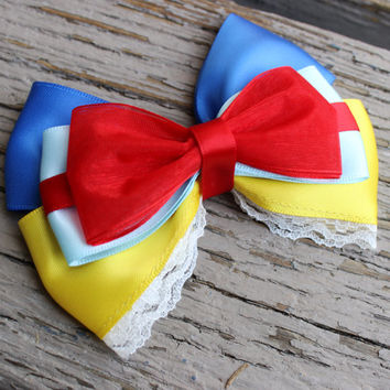 Snow white hair bow disney inspired hair bow