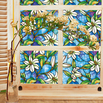 45cm*100cm European Style PVC Privacy Glass Window Stickers Orchid Window Film Stained Privacy DIY Home Decoration