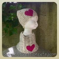 Crochet Beanie and Neck Cowl with Felt Heart Set~Ready to Ship~FREE SHIPPING