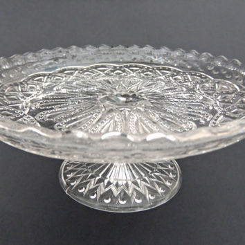 Pedestal cake stand - antique pressed glass cake stand by peonyandthistle