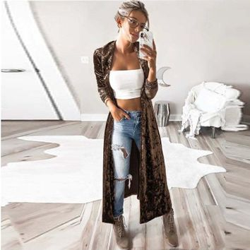 CWLSP  2018 Spring  Fashion Long Coat For Woman Gold velvet Slim Sexy Turn-down Collar Coat Trench Open Stitch QZ2565