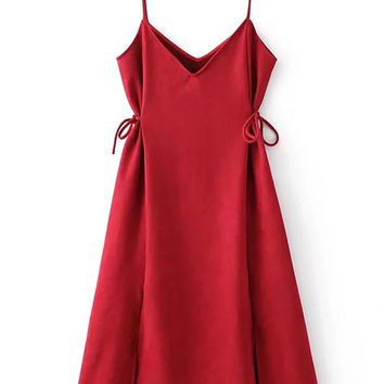 Red Faux Suede V-neck Tie Side Spaghetti Strap Dress