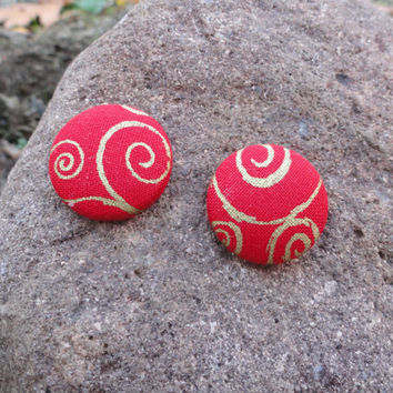 Red Button Earrings, Red Earrings, Gold Earrings, Swirl Earrings, Fabric Earrings, Button Earrings, Post Earrings, Red and Gold, Christmas