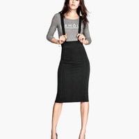 H&M - Pencil Skirt with Suspenders - Black - Ladies