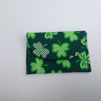 Card Holder Lucky Shamrock Green or Green Clovers on Black Your Choice of One