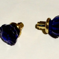 SALE!! 3 Cobalt Blue Door Knobs, The Knob Stem is Solid Brass and Natural Brass.