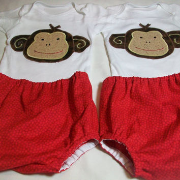 New Born Twin boy Clothes Sock Monkey Bodysuit Baby Boy Diaper Cover Sets